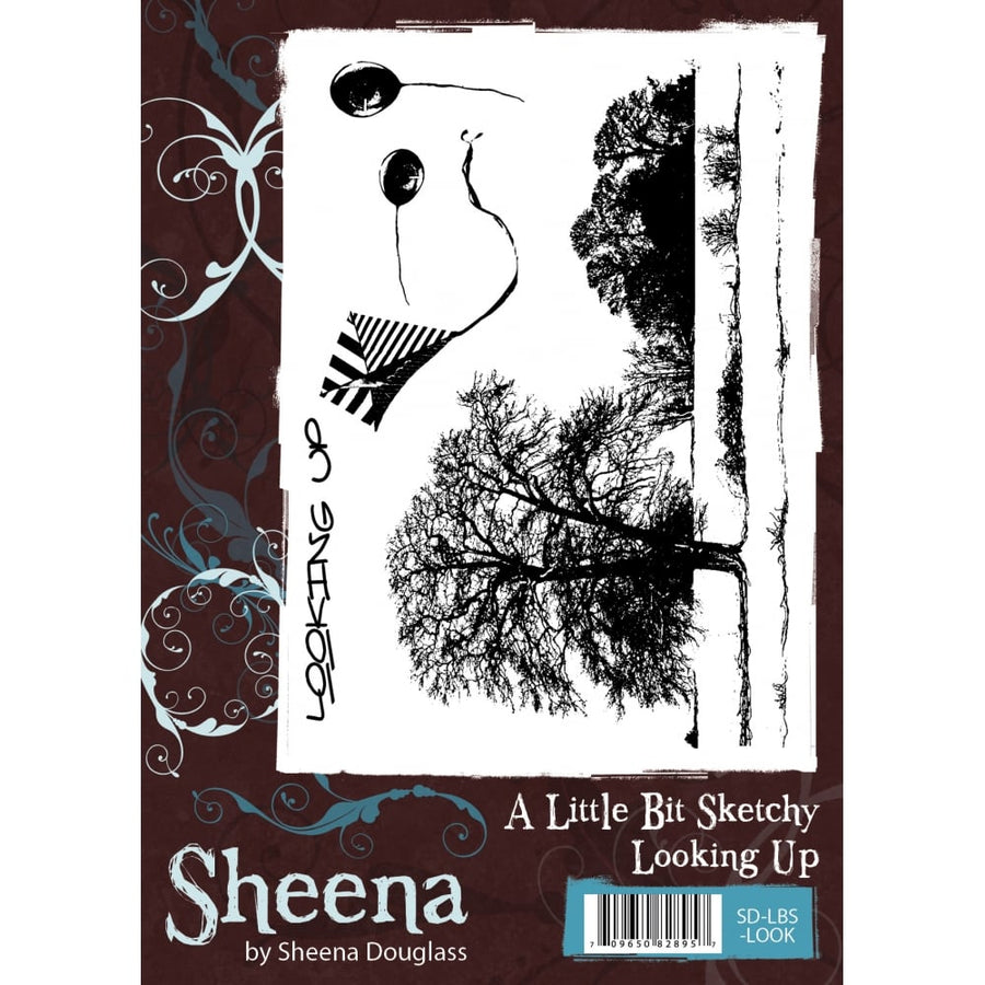 Sheena Douglass A Little Bit Sketchy A6 Unmounted Rubber Stamp - Looking Up