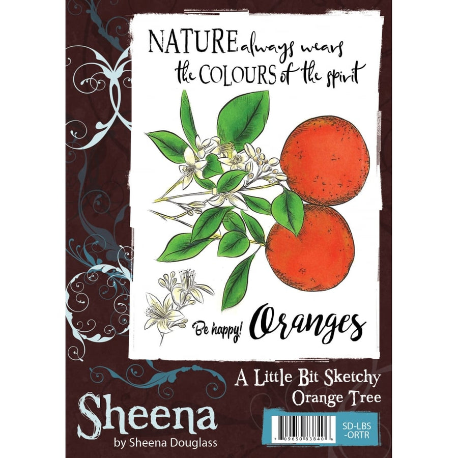 Sheena Douglass A Little Bit Sketchy A6 Unmounted Rubber Stamp - Orange Tree