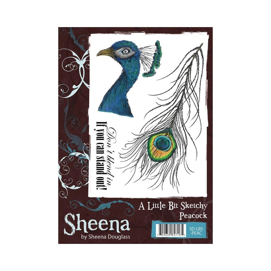 Sheena Douglass A Little Bit Sketchy A6 Unmounted Rubber Stamp - Peacock