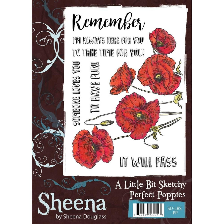 Sheena Douglass A Little Bit Sketchy A6 Unmounted Rubber Stamp - Perfect Poppies