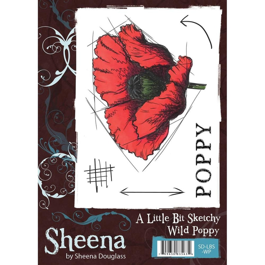Sheena Douglass A Little Bit Sketchy A6 Unmounted Rubber Stamp - Wild Poppy