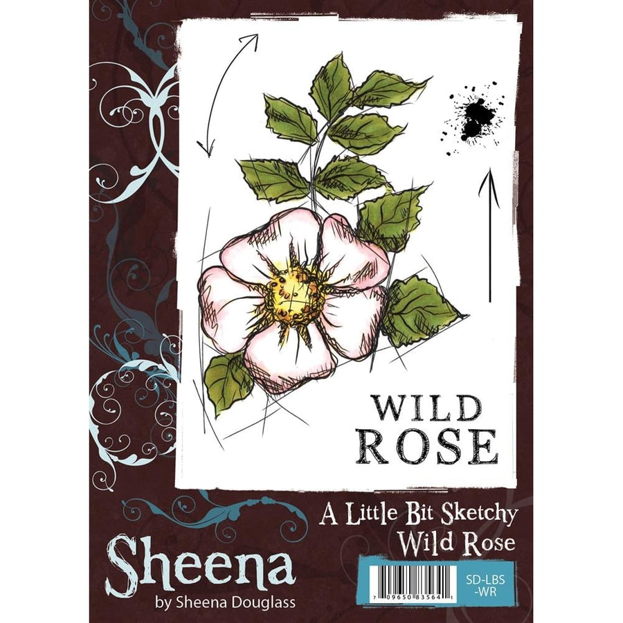 Sheena Douglass A Little Bit Sketchy A6 Unmounted Rubber Stamp - Wild Rose