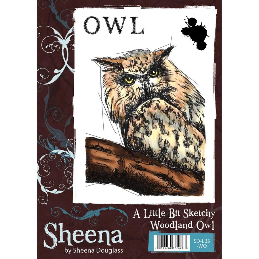 Sheena Douglass A Little Bit Sketchy A6 Unmounted Rubber Stamp - Woodland Owl