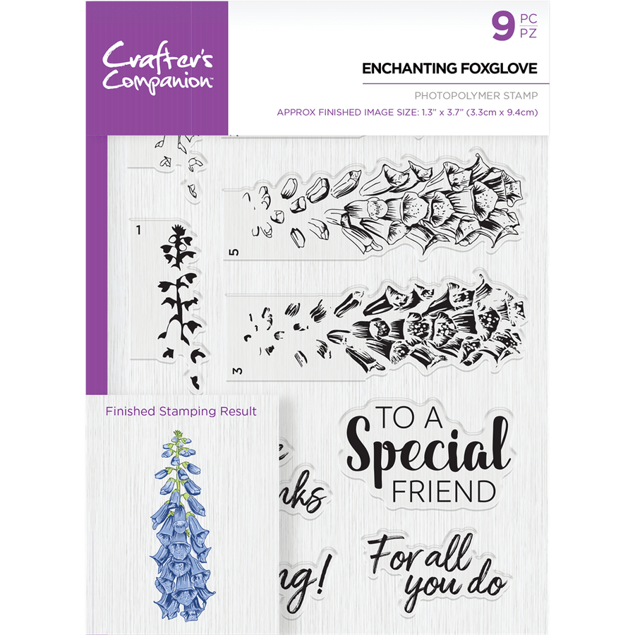 Crafters Companion - Die & Stamp Combo - Enchanting Foxglove