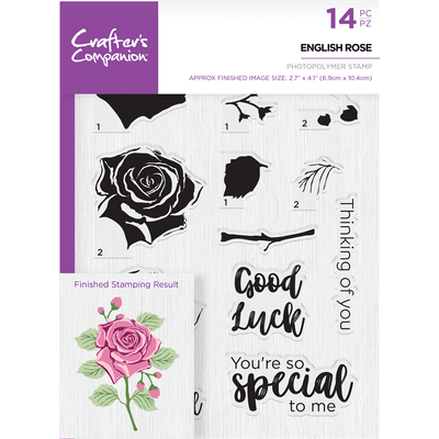 Crafters Companion - Die & Stamp Combo - English Rose