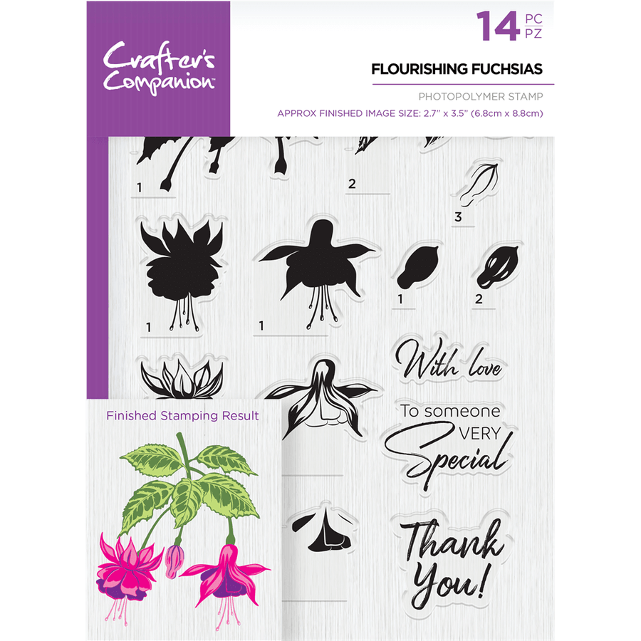 Crafters Companion - Die & Stamp Combo - Flourishing Fuchsias