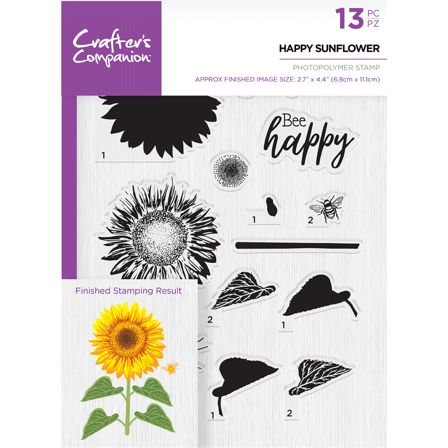 Crafters Companion - A5 Photopolymer Stamp - Happy Sunflower