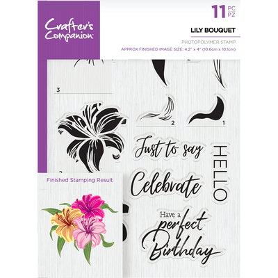 Crafters Companion - Die & Stamp Combo - Lily Bouquet