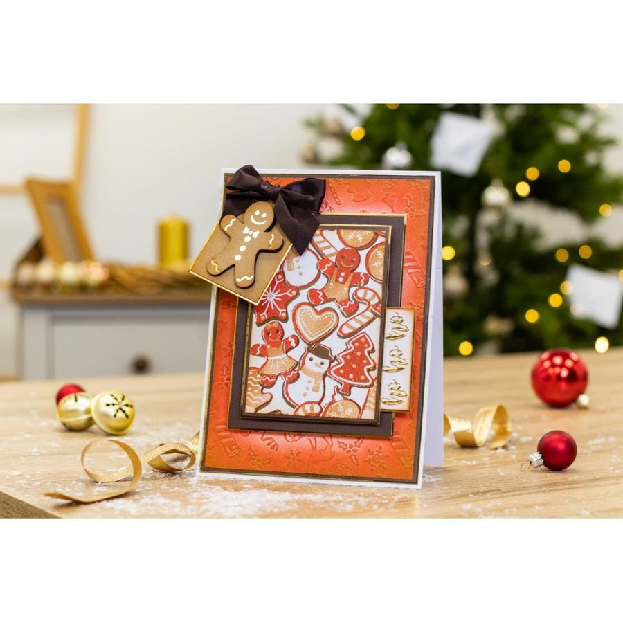 Crafters Companion - Background Layering Stamps - Jolly Gingerbread