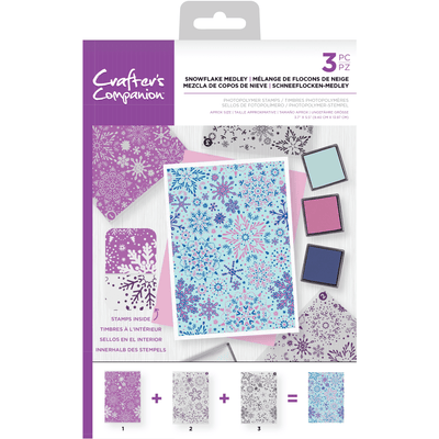 Crafters Companion - Background Layering Stamps - Snowflake Medley