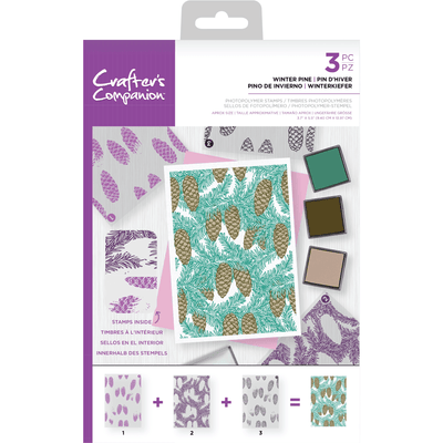 Crafters Companion - Background Layering Stamps - Winter Pine