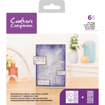 Crafters Companion - Background Stencil & Focal Stamps - It's Time