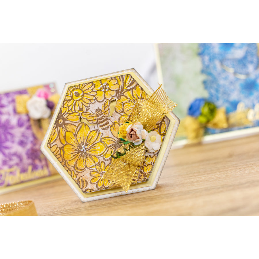 Crafters Companion - A6 Background Layering Stamps - Bees in the Border