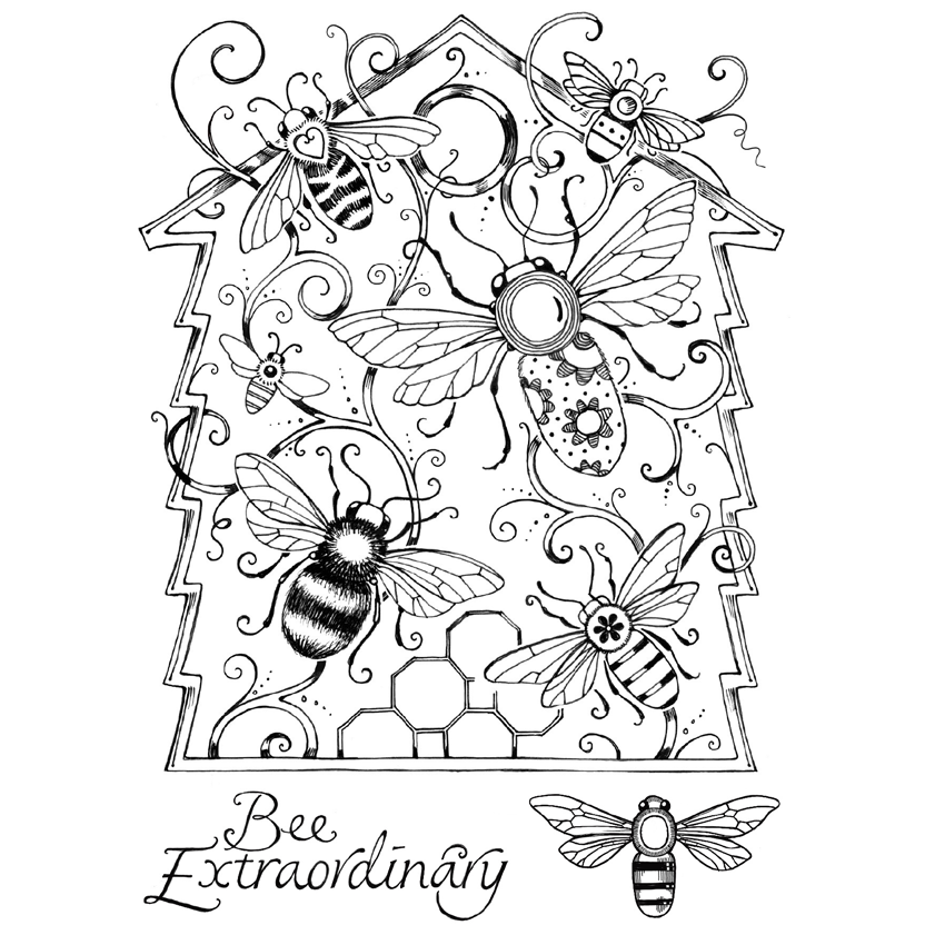 Pink Ink Designs - Stamp & Die Set - Beehive Buzz