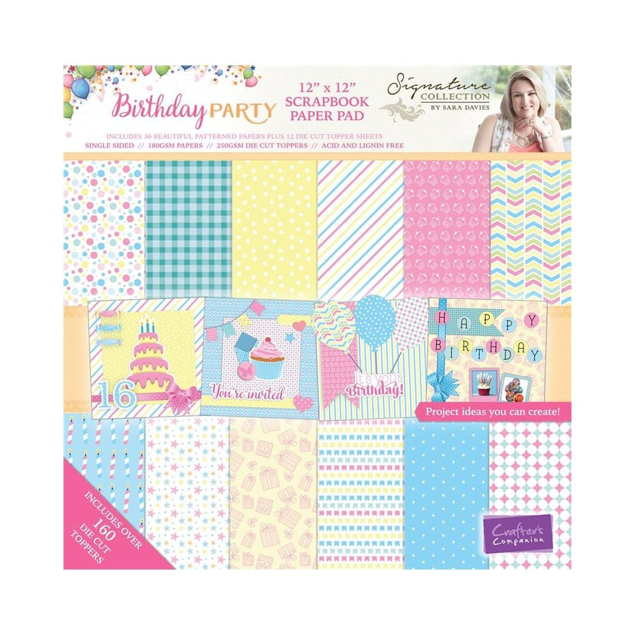 Crafters Companion Sara Signature Collection - Birthday Party 12 x 12 Scrapbook Paper Pad