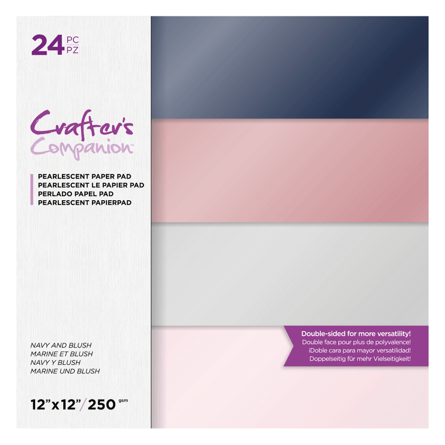 "Crafters Companion - 12""x12"" Pearl Pad - Navy and Blush"