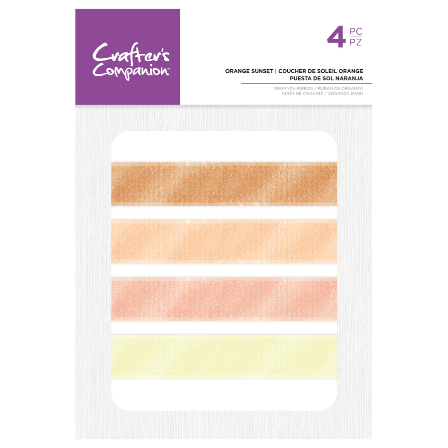 Crafters Companion - Assorted Organza Ribbon - Orange Sunset