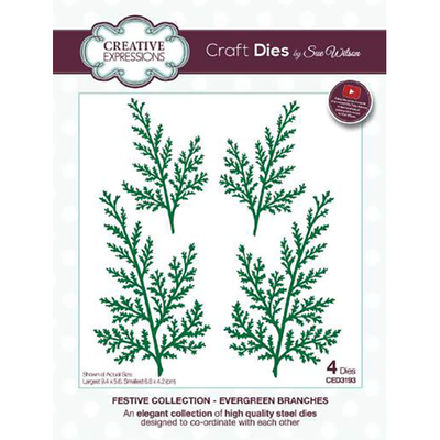 Sue Wilson Dies Christmas Collection, Evergreen Branches Craft Die - CED3193