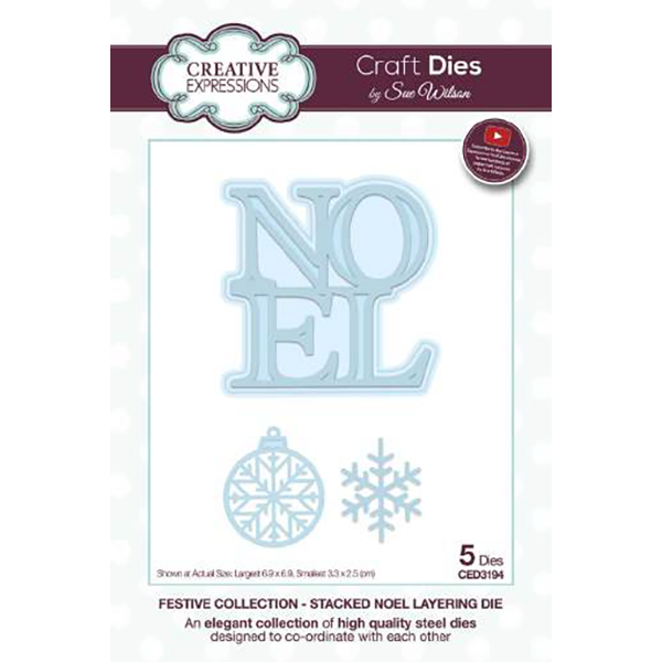 Sue Wilson Dies - Festive Collection -  Stacked Noel Layering Craft Die - CED3194