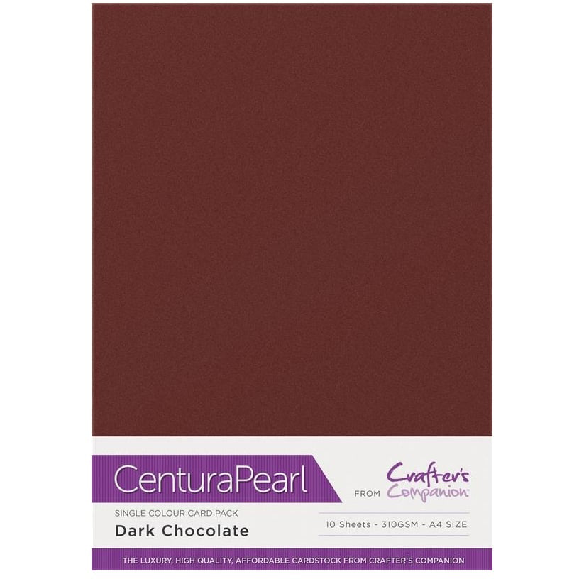 Crafter's Companion Centura Pearl 10 Sheet Card Pack - Dark Chocolate