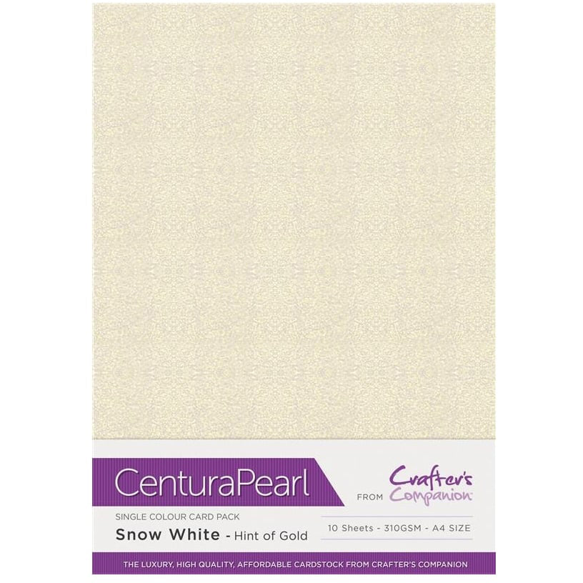 Crafter's Companion Centura Pearl 10 Sheet Card Pack - Snow White (Hint of Gold)