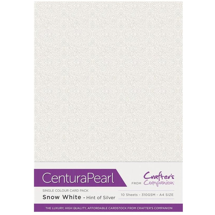 Crafter's Companion Centura Pearl 10 Sheet Card Pack - Snow White (Hint of Silver)