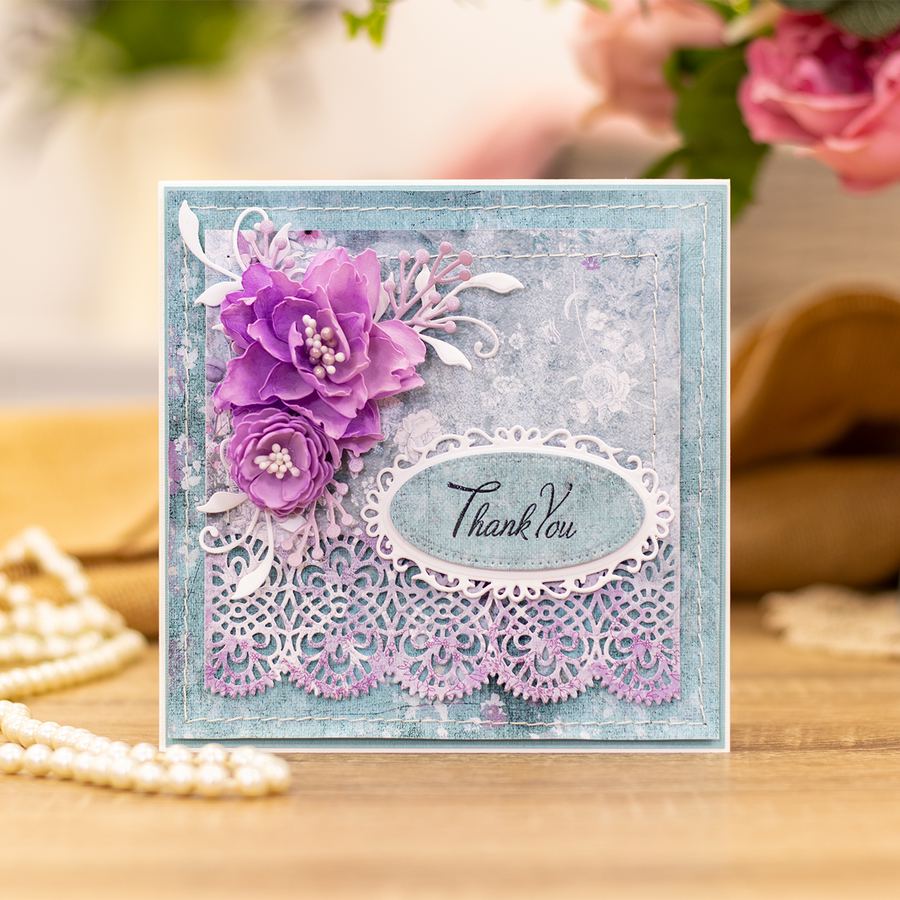 Sara Signature Collection by Crafters Companion - Vintage Lace - Acrylic Stamp - Heartfelt Sentiments