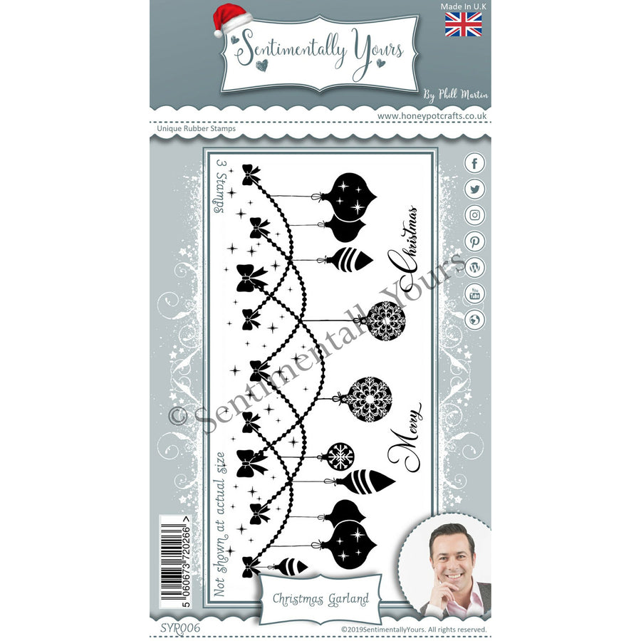 Phill Martin - Sentimentally Yours - Christmas Garland DL Silhouette Stamp Set