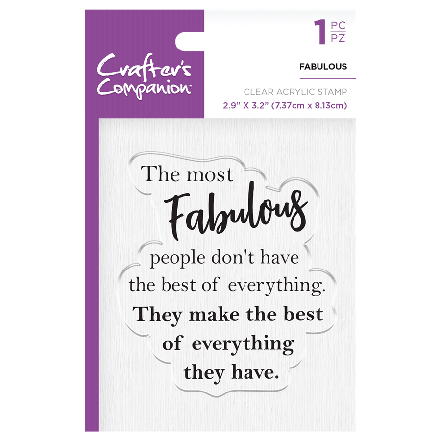 Crafters Companion - Clear Acrylic Stamps - Fabulous
