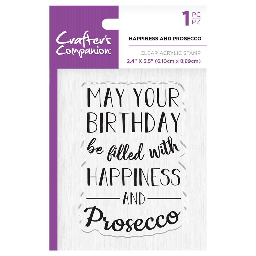 Crafters Companion - Clear Acrylic Stamps - Happiness and Prosecco