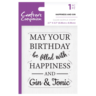 Crafters Companion - Clear Acrylic Stamps - Happiness and Gin