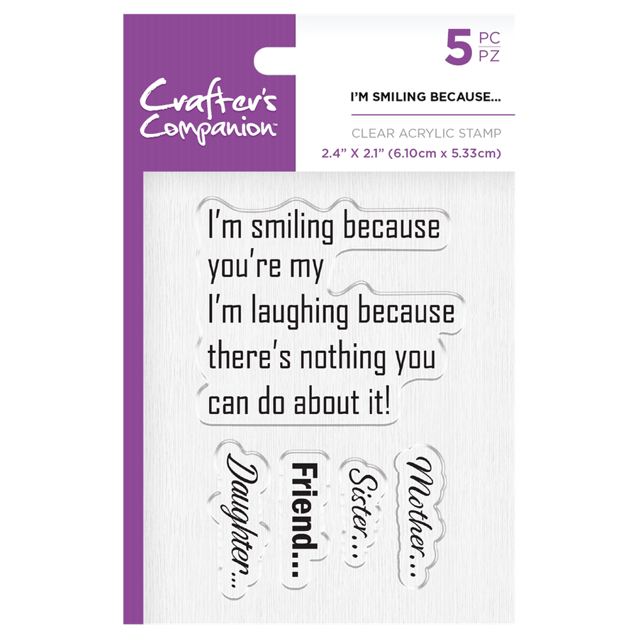 Crafters Companion - Clear Acrylic Stamps - I'm Smiling Because...