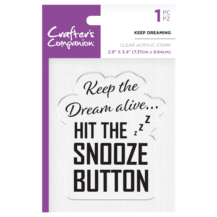 Crafters Companion - Clear Acrylic Stamps - Keep Dreaming