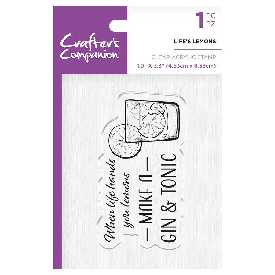 Crafters Companion - Clear Acrylic Stamps - Life's Lemons