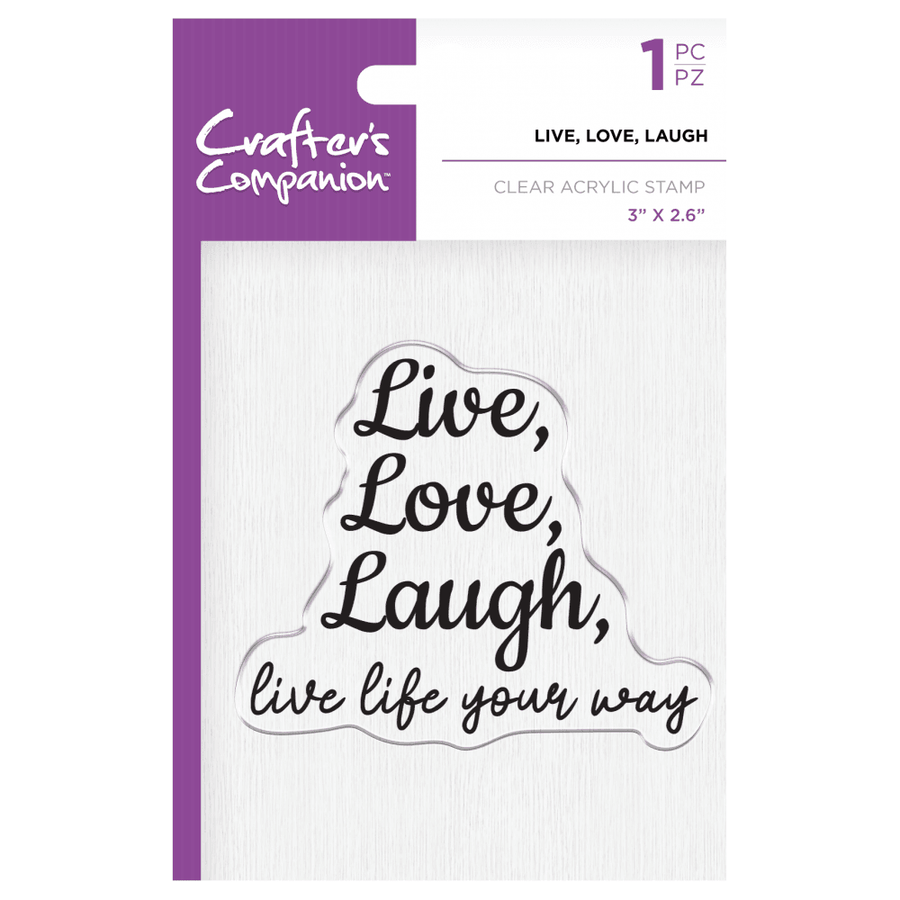 Crafters Companion - Clear Acrylic Stamp - Live, Love, Laugh