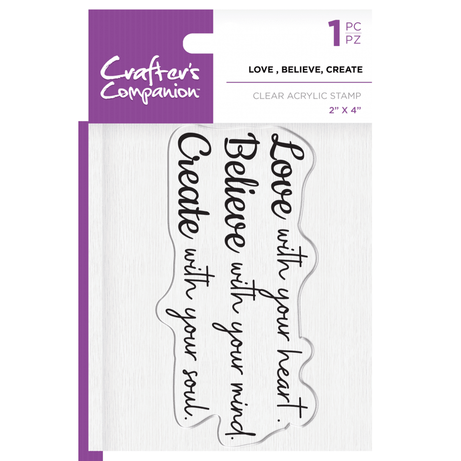 Crafters Companion - Clear Acrylic Stamp - Love, Believe, Create