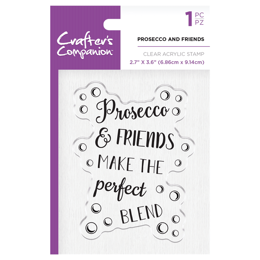 Crafters Companion - Clear Acrylic Stamps - Prosecco and Friends