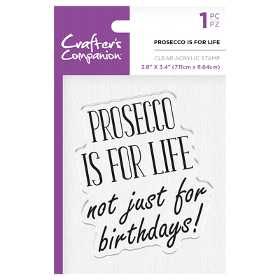 Crafters Companion - Clear Acrylic Stamps - Prosecco Is For Life