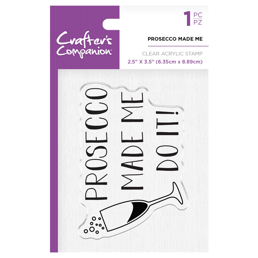 Crafters Companion - Clear Acrylic Stamps - Prosecco Made Me