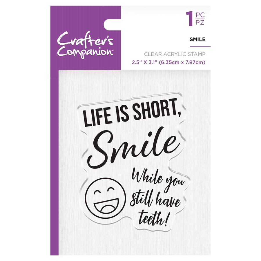 Crafters Companion - Clear Acrylic Stamps - Smile