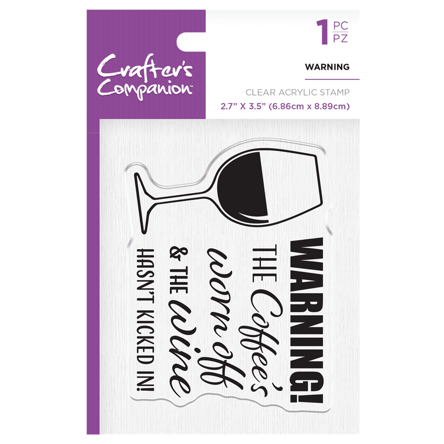 Crafters Companion - Clear Acrylic Stamps - Warning