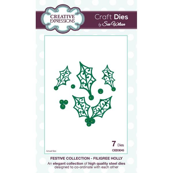 Craft Dies by Sue Wilson - Festive Collection - Filigree Holly - CED3045