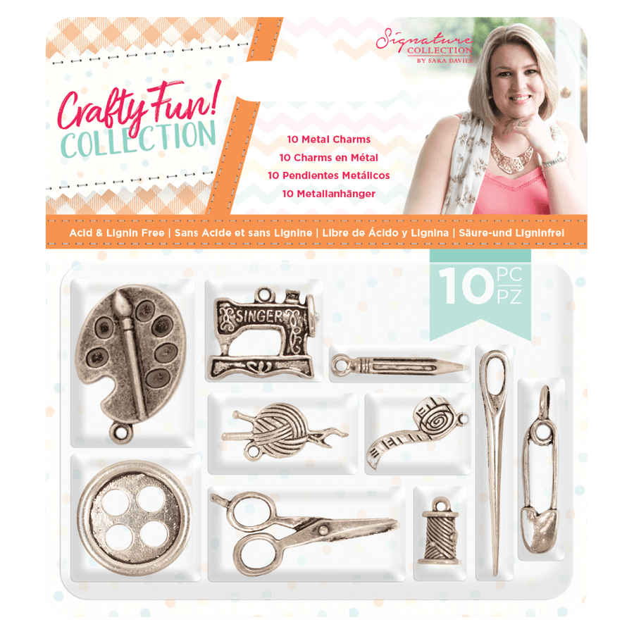 Sara Signature Collection by Crafters Companion - Crafty Fun - Metal Charms (10pk)