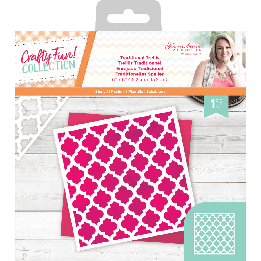 Sara Signature Collection by Crafters Companion - Crafty Fun - Stencil - Traditional Trellis