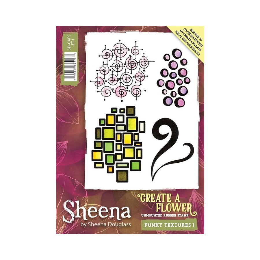 Sheena Douglass Create a Flower A6 Rubber Stamp - Funky Textures 1