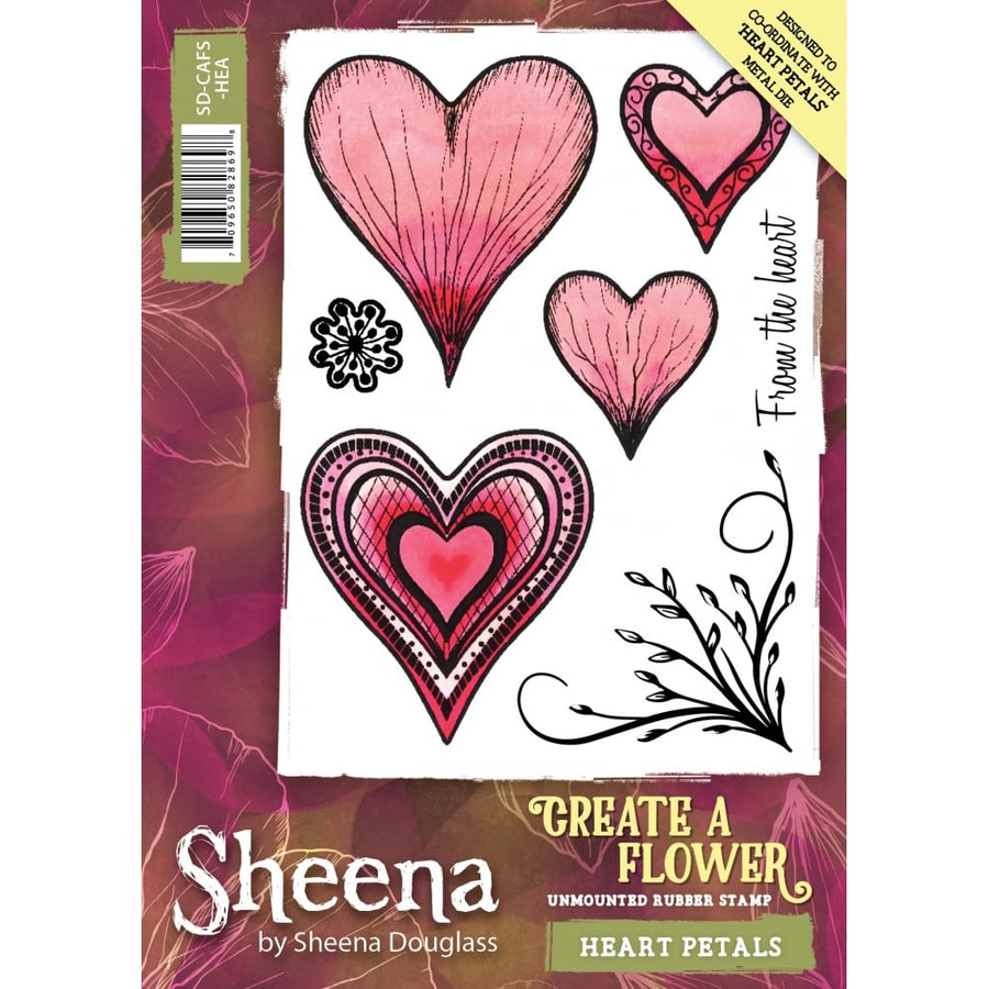 Sheena Douglass Create a Flower A6 Rubber Stamp - Heart Petals