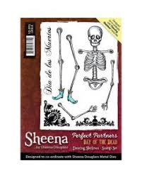 Sheena Douglass Perfect Partners Day of the Dead - Dancing Skeleton A6 Rubber Stamp Set