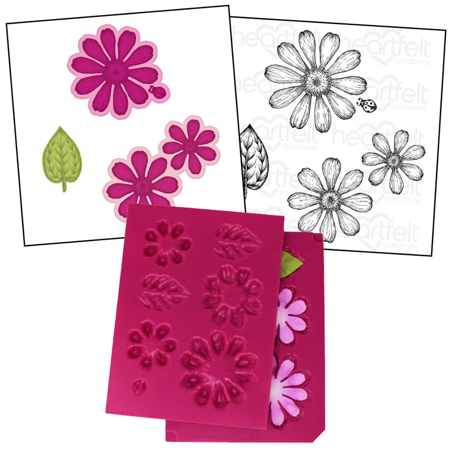 Heartfelt Creations - Summer's Garden Zinnia (Small) - Stamp, Die & Mold