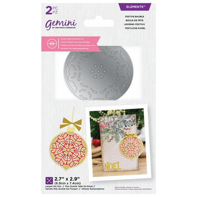 Gemini by Crafters Companion Double-Sided Die - Festive Bauble