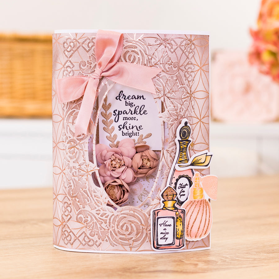 Sara Signature Collection by Crafters Companion - Rose Gold - Stamp and Die - Scent with Love